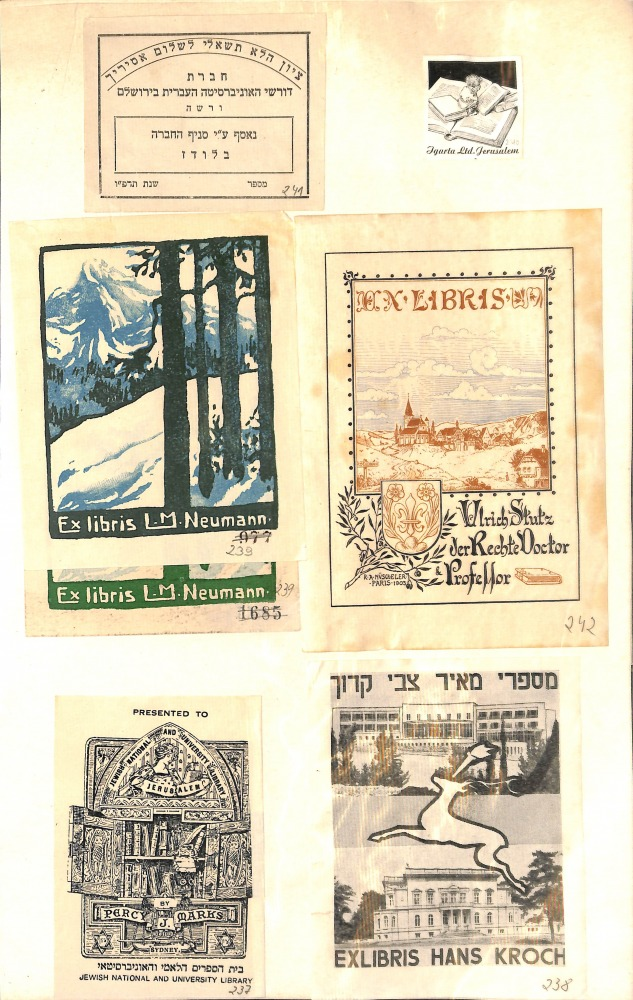 A sample of the ex-libris collection of books rescued from Europe after the war, and maintained at the National Library